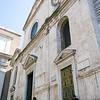 Façade, Santa Maria del Popolo (side view). Located on the north side of Piazza del Popolo.