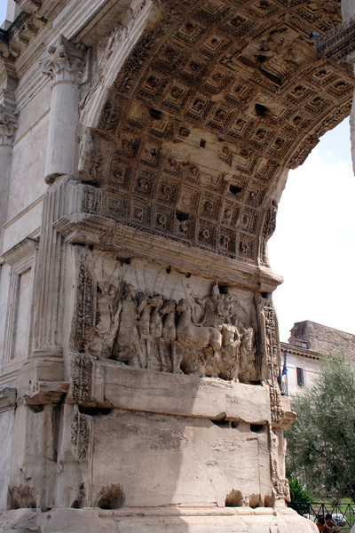 Stone carvings in the Arch of Titus at the Forum Rome