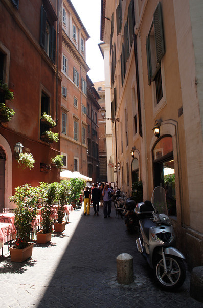 Side alley in the historic centre Rome