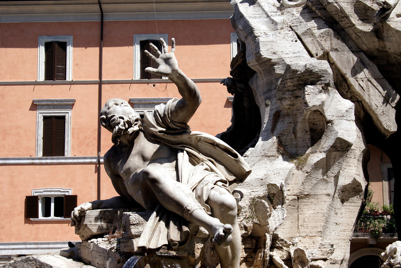 Closeup Fountain of the Four Rivers at the Piazza Navona Rome