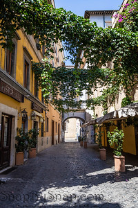 An alley leading through the traditional homes in the Trastevere neighborhood of