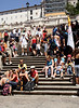 Tourists sitting on the Spanish Steps Rome