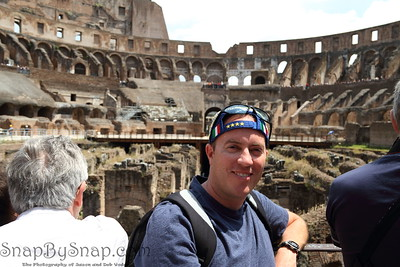 "This is me in the Roman Coliseum.  It took 2 hours to go through the line.  Next time I'll get a ""Rome Pass"" so I can skip the lines."