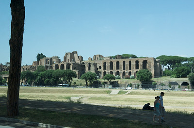 Imperial Palace of the Palatine, with the Circus Maximus [chariot field] in the foreground.  Built in its present form by Julius Caesar in 50 BC.
