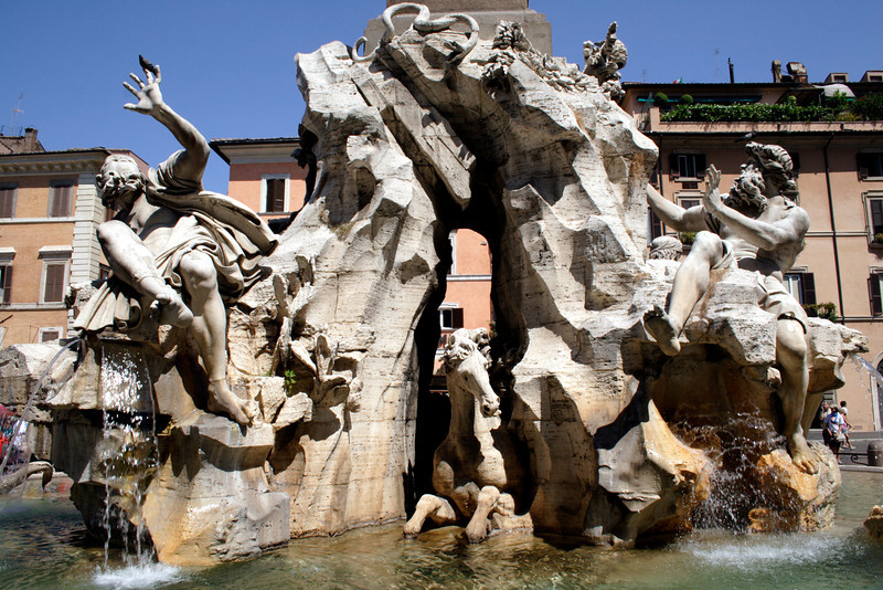Fountain of the Four Rivers at the Piazza Navona Rome