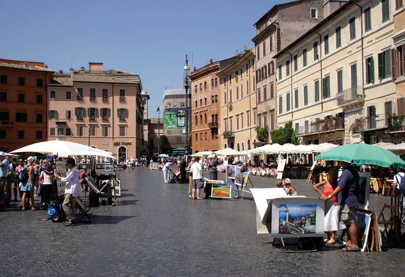 Piazza Navona and street artists Rome
