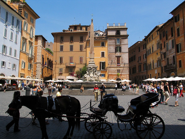 View from Pantheon steps of the Piazza della Rotonda