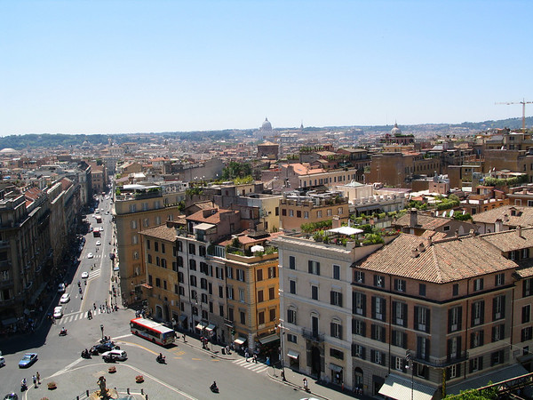 Rooftop view of Rome from Bernini Bristol hotel