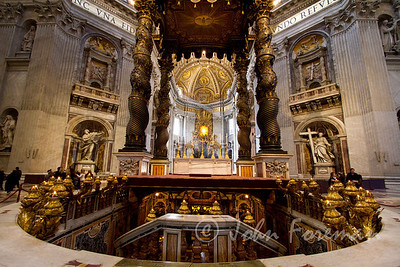 Bernini's Cathedra Petri and Gloria beyond the baldacchino