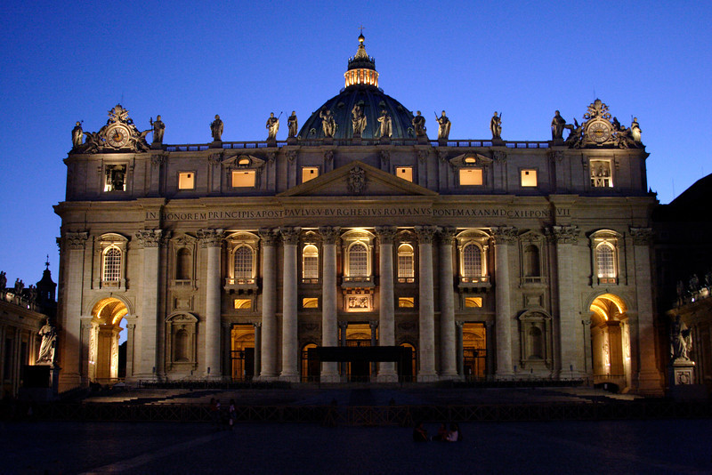 St Peter's Square Rome at night