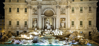 A panoramic image of Trevi Fountain in Rome Italy