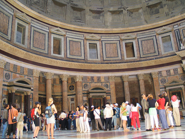 Inside the Pantheon; all eyes are looking up at the dome