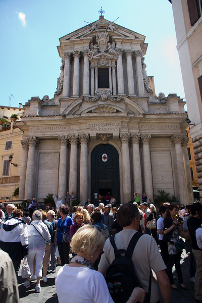 Church of St. Vincents and St. Anastasia across from Trevi Fountain.
