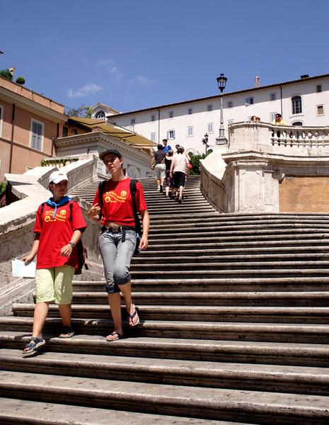 Descending the Spanish steps Rome