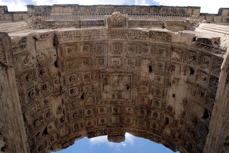 Closeup Arch of Titus at the Forum Rome