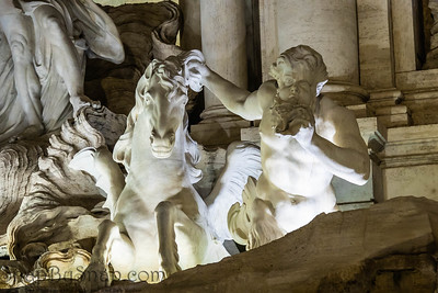 Details of Trevi fountain in Rome, Italy