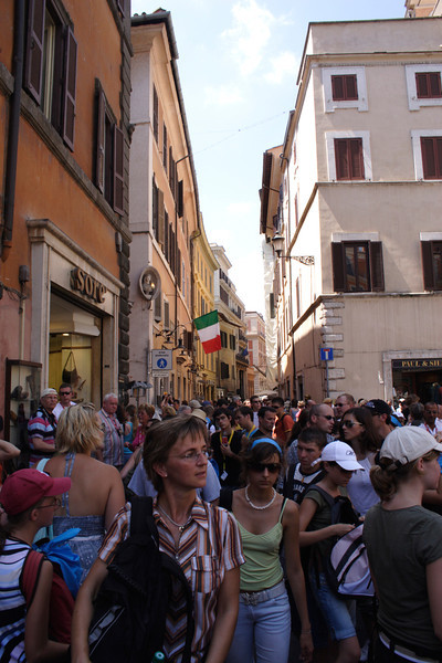 Crowd of tourists near the Trevi Fountain Rome 2006