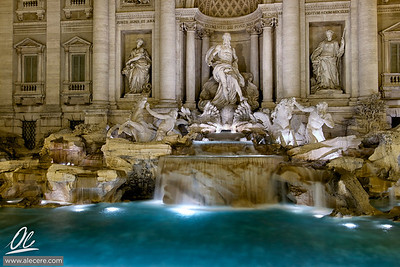 A well known spot - Trevi fountain in Rome