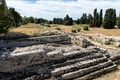 A large raised platform for animal sacrifice in the Roman portion of Syracuse.