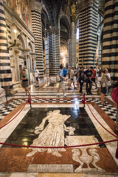 One of a set of detailed marble inlay floors inside the Siena cathedral(14th-16th C)