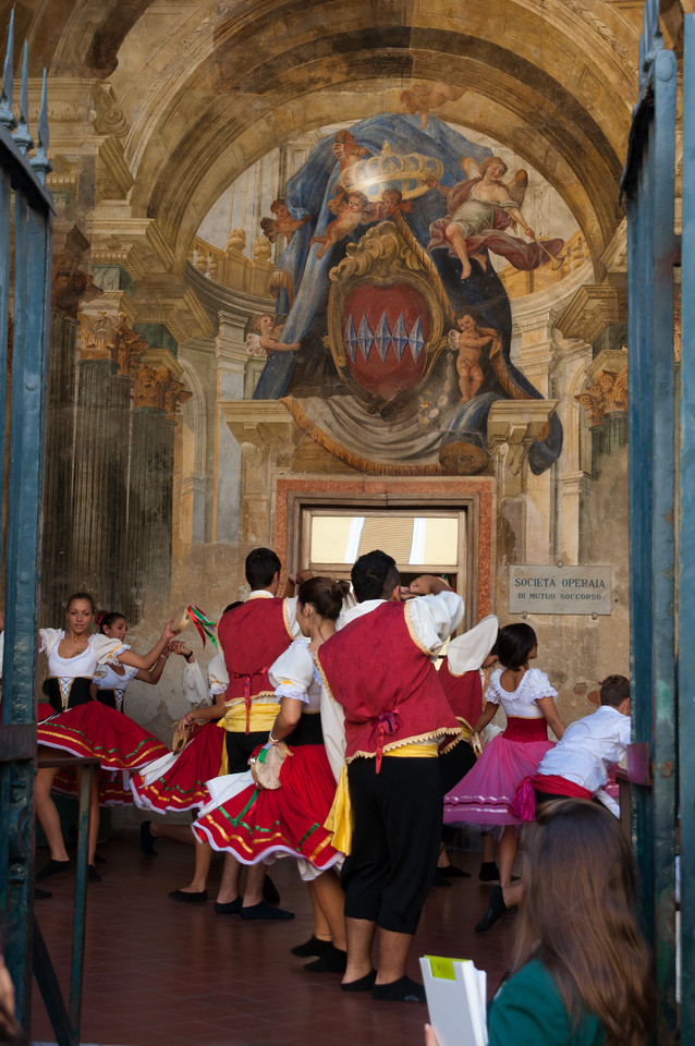 Dancing at an historic palazzo in old town Sorrento, Italy