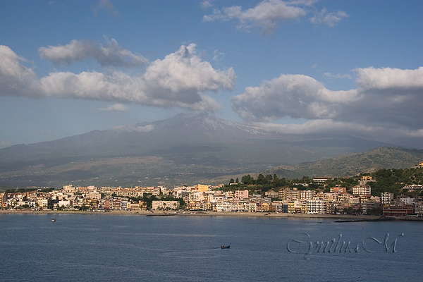 The port of Naxos with Mt Etna in the background
