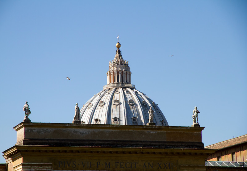 Top of the dome of St. Peter's Basilica, taken from the court yard of the Vatican Museum.