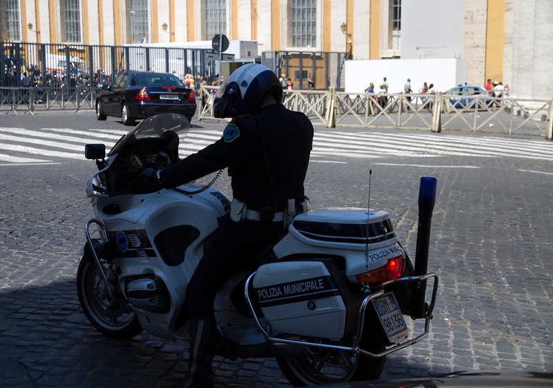 Police motorcycle, occupied one time