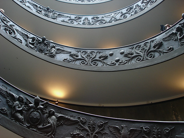 Inside the Vatican Museum,; detail of spiral staircase