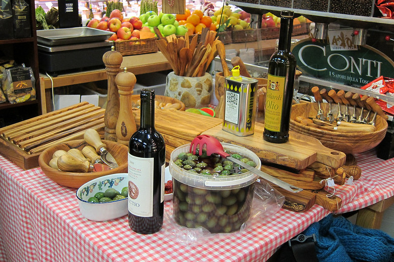 Another stop on our food tour. Here, we tried balsamic vinegars, cheeses, and olive oils.