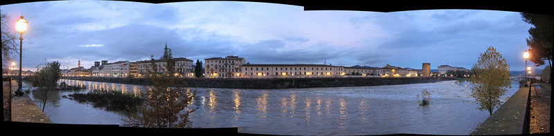 Panorama from the south bank of the Arno, looking north.