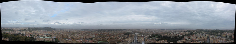 A panorama taken from the top of the dome on St. Peter's Basilica. The Plazza can be seen at the middle bottom.