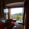 A room with a view - wine and chestnuts - not the perfect mix but both nice!