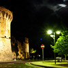 San Gimigniano at night (south gate) Roasated chestnuts sold in autumn here.