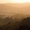 The sun rises over the Merse valley - view from Stigliano tower (and our room)