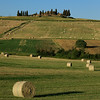 Hay bales around the farmhouse