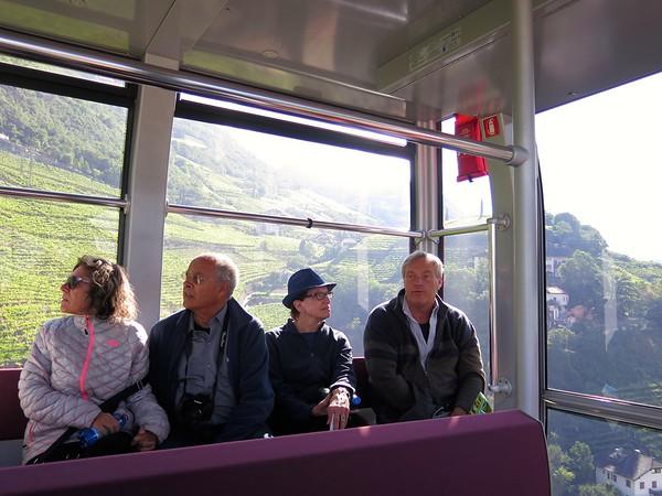 In the gondola from Bolzano to Soprabolzano - Carla, John, Beth and Daniele