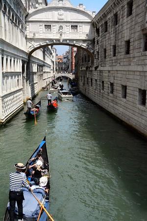 Bridge of Sighs, with Gondolas, Venice, Italy