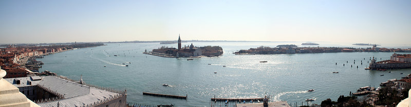 View from the bell tower at St Mark's Square, Venice, Italy looking south.