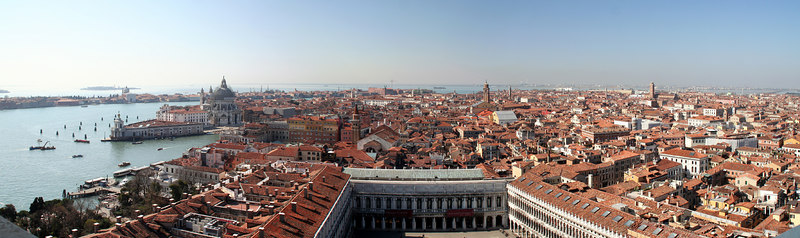 View from the bell tower at St Mark's Square, Venice, Italy looking north.