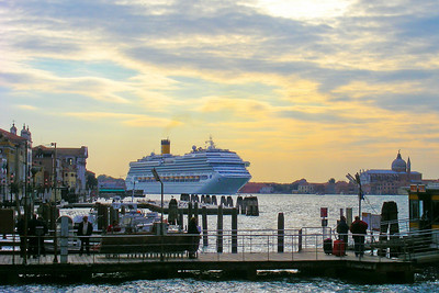 Two weeks after leaving Venice for Croatia we returned early on a Sunday morning leading the way for this large cruise ship