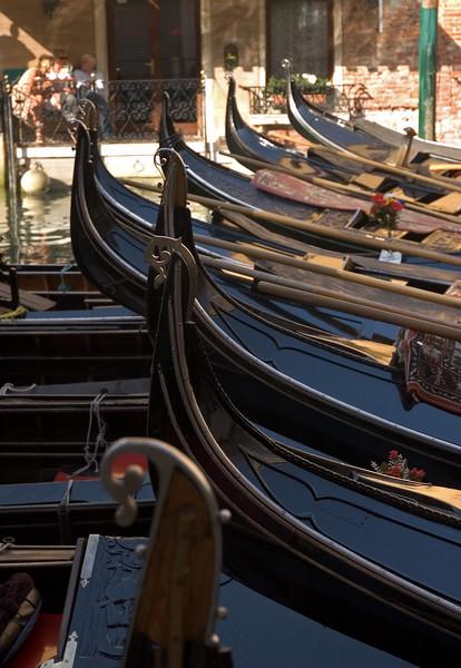 Gondola's parked waiting for passengers