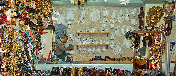 Artist making masks