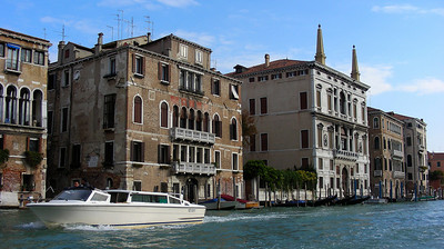 One of many water taxis in Venice