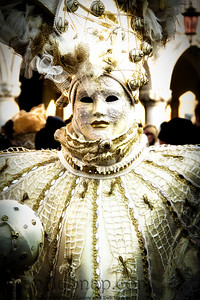 Costumed Reveler of the Carnival of Venice with a black vignette