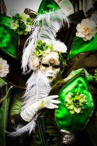 Costumed Reveler of the Carnival of Venice with a black vignette