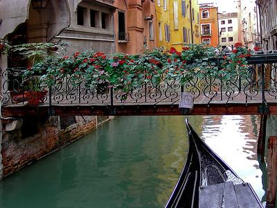 A pretty foot bridge crossing a small canal