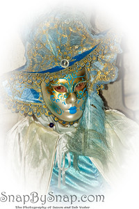 Costumed Reveler of the Carnival of Venice with a white vignette