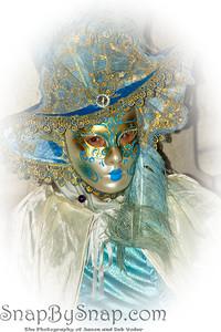 Costumed Reveler of the Carnival of Venice with a white vignette