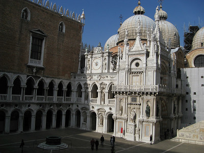 Where St. Mark's meets the Palazzo Ducale (the Doges' Palace), viewed from courtyard of the Doge's Palace
